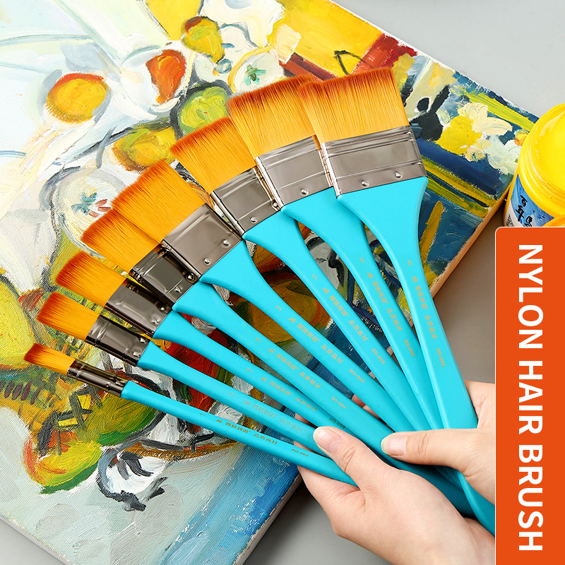 1Piece Nylon Hair Flat Head Scrubbing Watercolor Paint Brush Acrylic Painting Brush Oil Paint Wall Painting Brush Art Supplies1Piece Nylon Hair Flat Head Scrubbing Watercolor Paint Brush Acrylic Painting Brush Oil Paint Wall Painting Brush Art Supplies