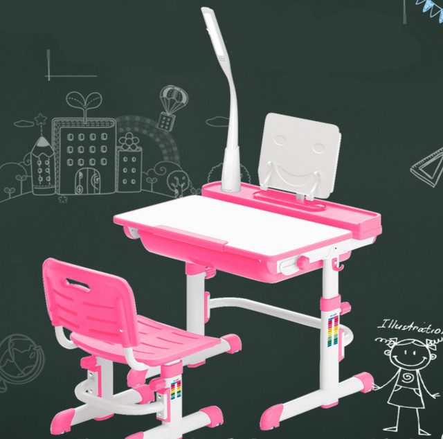 High quality adjustable height protection vision correcting sitting posture children learning desk and chair set