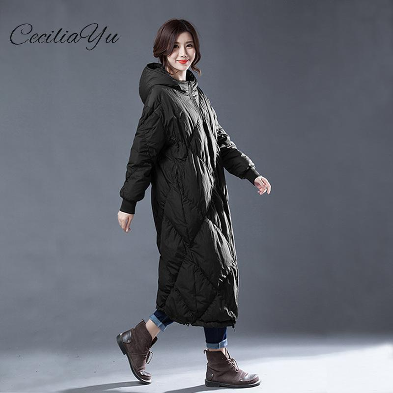 Ceciliayu 2018 Winter New White Duck   Down   Loose And Long Size Winter Female   Down     Coat   Originally Designed For The Winter