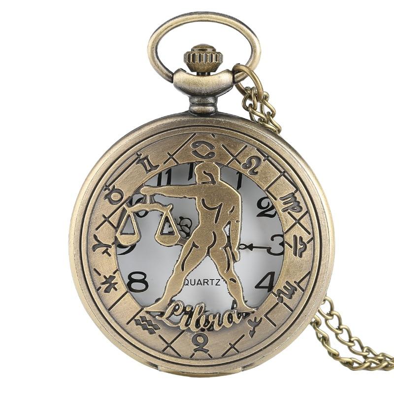 Retro Libra Bronze Quartz Pocket Watch Modern Zodiac Steampunk Necklace Women Astrology Men Clock Birthday Gift 2020 New Arrival