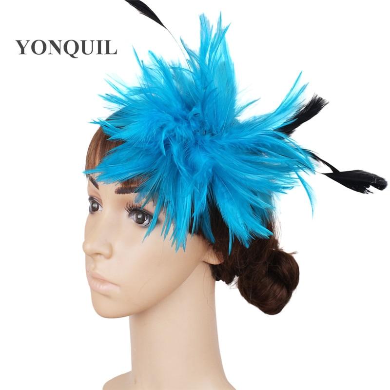 Várias cores headpiece pena alta qualidade fascinator chapéus com - Acessórios de vestuário - Foto 5