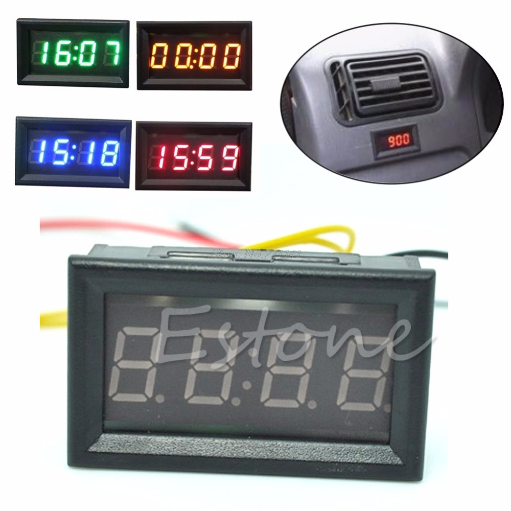 Motorcycle Accessory Car 12V/24V Dashboard LED Display Digital Clock 4 Colors