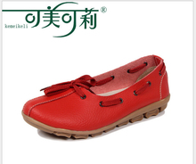 Spring Women Shoes Flat Round Toe lace up Genuine Leather Ladies Flat Shoes Slip on Loafers Female Footwear (1259)