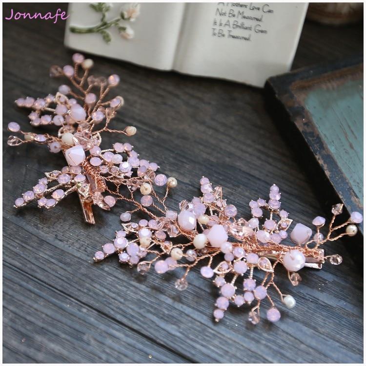 Jonnafe Charming Pink Crystal Bridal Hair Clip Hair Comb For Women Handmade Wedding Accessories Hairpins Jewelry все цены