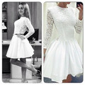 2016 A Line Crew Neck Long Sleeves White Lace Satin Short Hot Sale Party Dress