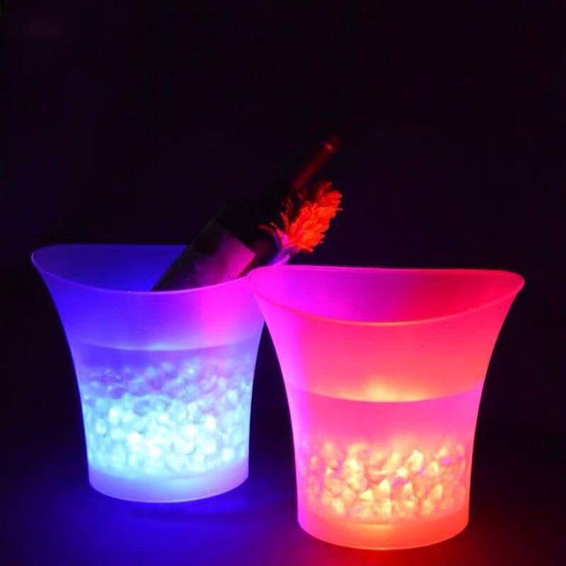 Mới Led 7 Màu 5L Nhựa Dẻo Chống Thấm Nước LED Xô Đựng Đá Màu Sắc Thanh Các Hộp Đêm LED Sáng Champagne Bia Xô Thanh tiệc Đêm|Xô & Kẹp Đá|   - AliExpress