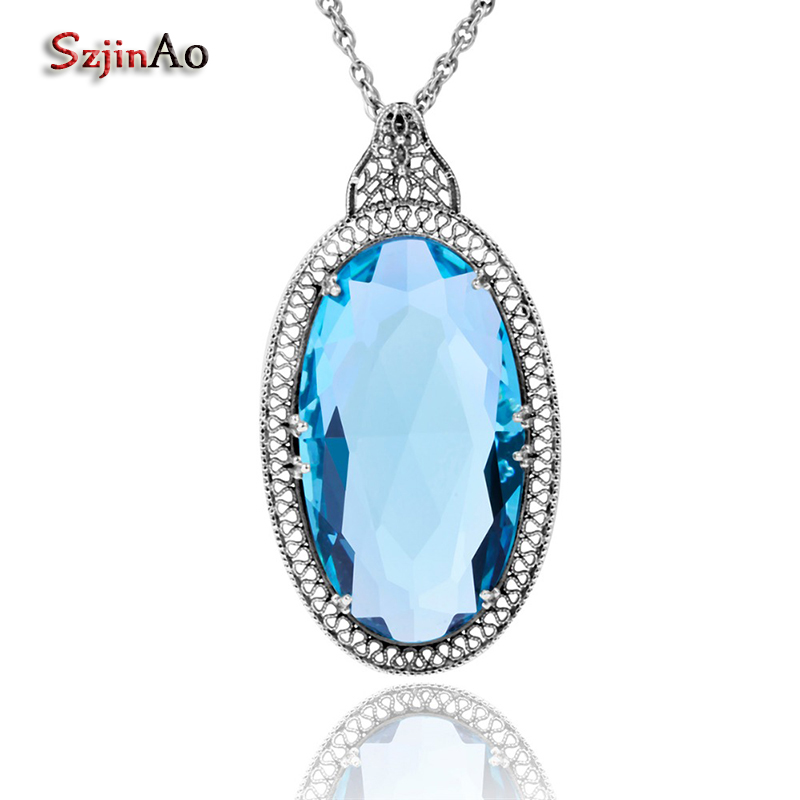 Szjinao Jewelry Pendants Necklaces Islam Big Oval Blue Topaz Healing 925 Sterling Silver For Women Punk Viking Vintage Gifts