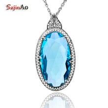 Szjinao biżuteria wisiorki naszyjniki Islam duży owalny niebieski Topaz uzdrowienie 925 srebro dla kobiet Punk Viking Vintage prezenty