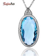 Szjinao jóias pingentes colares islam grande oval azul topázio cura 925 prata esterlina para mulheres punk viking vintage presentes