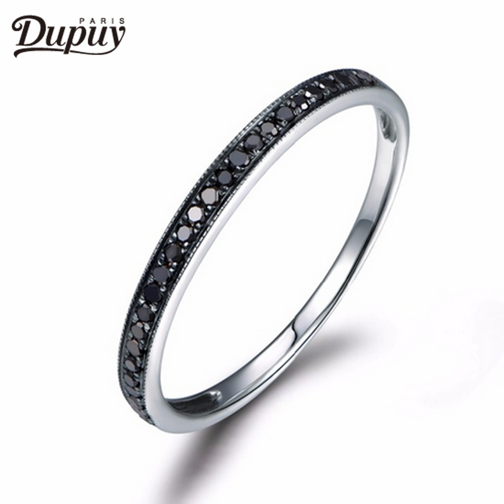 DUPUY Milgrain Bezel Ring Half Eternity Black Diamond Ring Stackable Match 14K White Gold Shiny Brilliant Wedding Ring black diamond cat hair ring