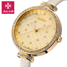 Julius Girl's Ladies's Watch Japan Quartz Hours Nice Vogue Gown Bracelet Leather-based Rhinestone Lady Birthday Reward Unique Field