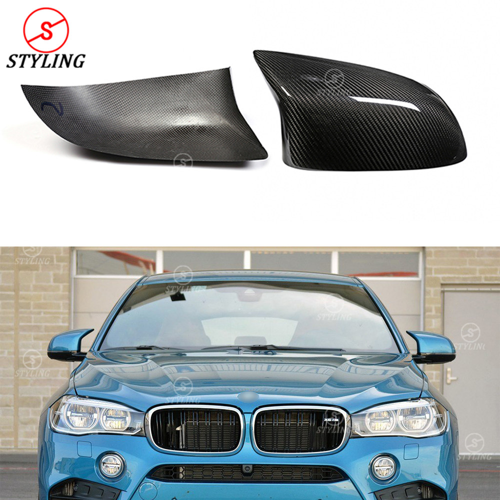 For BMW F85 F86 Carbon Mirror Cover Gloss Black X5M F85 X6M F86 Dry Carbon Rear Side View caps Mirror Cover add on style 2015+ victor turismo 10x20 5x130 et50 0 d71 gloss black mirror cut li