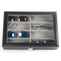 8 Slot Transparent Eyeglass Sunglass Storage Box Imitation Leather Glasses Women Display Case Men Storage Organizer Collector