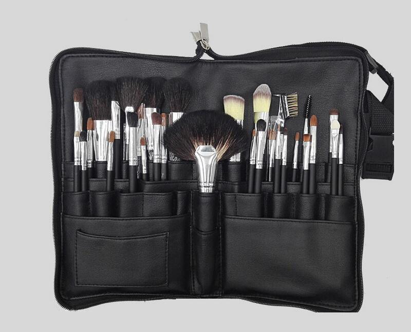 Pro Chèvre Cheveux 32 pcs Maquillage Pinceaux, haute Qualité Make Up Brush Kits Beauté Outil Avec Ceinture Sac