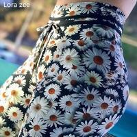 LORA ZEE Daisy impresso leggings esportivos empurrar para cima calças de jogging para as mulheres controle da barriga yoga ginásio calças justas sexy roupas de fitness