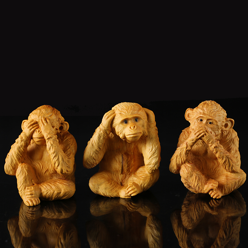 Wooden 3 zodiac monkey carved wooden chineselucky gift creative small Figurine pendant home decoration Miniature