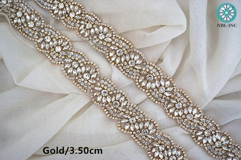 (10 yards)Wholesale bridal beaded sewing rose gold crystal rhinestone  applique trim iron on for wedding dress sash belt WDD0319-in Rhinestones  from Home ... 17fb2463bce3