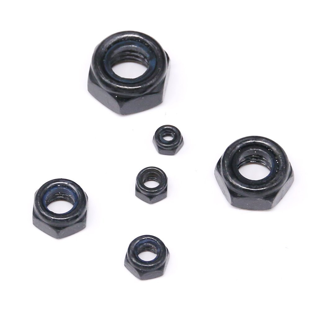 50Pcs DIN985 M3 M4 M5 M6 M8 Black Carbon Steel Nylon Self-locking Hex Nuts Locknut Slip Lock Nut HW102 цена