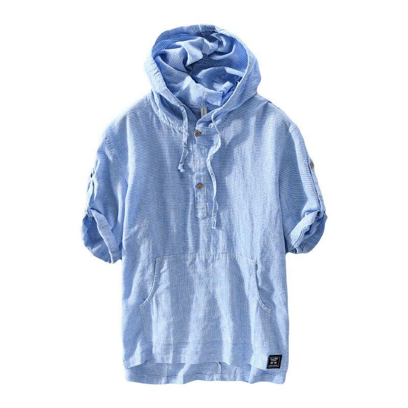 PADEGAO linen hoody men shirt blouse hoodies striped casual cotton top shirts chemise homme Harajuku hooded Shirts clothing