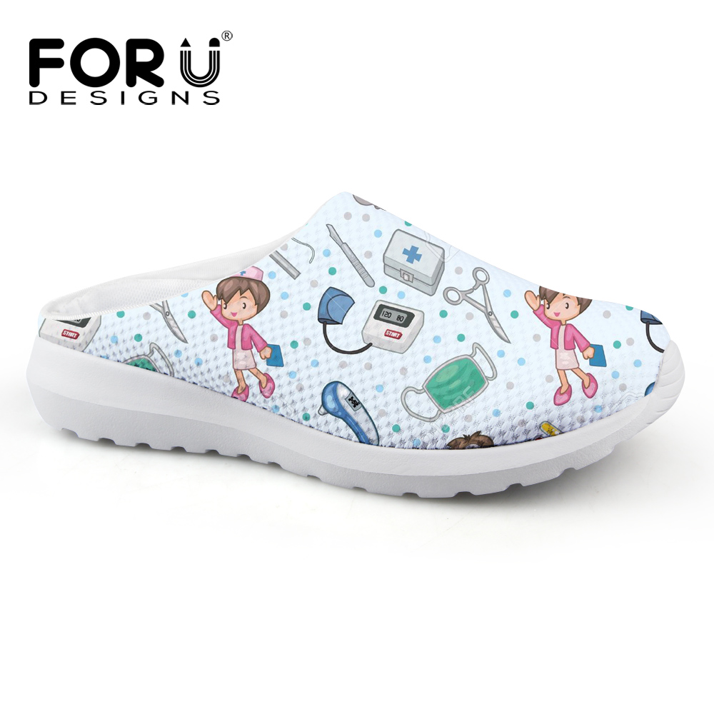 FORUDESIGNS Cartoon Cute Nurse Pattern Casual Women Slippers Summer Breathable Mesh Women's Sandals Beach Girls Fashion Slippers instantarts women flats emoji face smile pattern summer air mesh beach flat shoes for youth girls mujer casual light sneakers