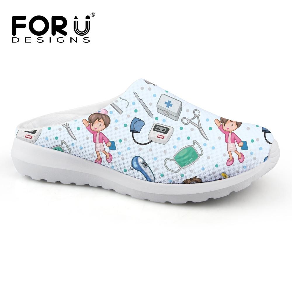 FORUDESIGNS Cartoon Cute Nurse Pattern Casual Women Slippers Summer Breathable Mesh Women's Sandals Beach Girls Fashion Slippers leisure platform and cartoon pattern design slippers for women