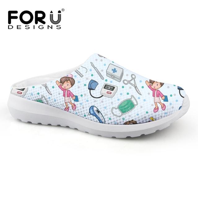 FORUDESIGNS Cartoon Cute Nurse Pattern Casual Women Slippers Summer Breathable Mesh Women's Sandals Beach Girls Fashion Slippers