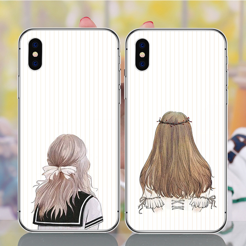 Cute Indie Pop Girls Case Cover For iPhone XS Max XR X 7 6 6s 8 Plus xs 5 5S SE Silicone Phone Cases Covers Etui Coque in Fitted Cases from Cellphones Telecommunications