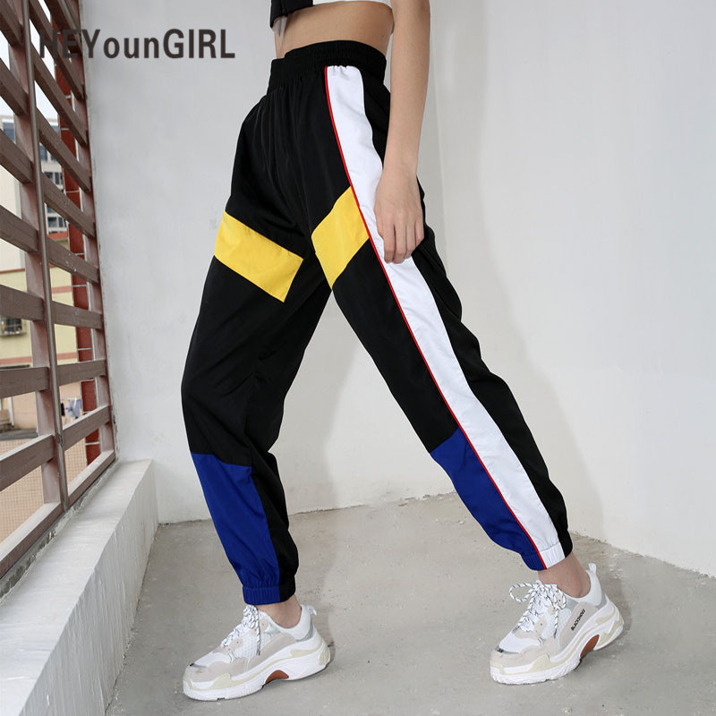 Heyoungirl Patchwork Casual Women Joggers Summer Streetwear Sweatpants Black High Waist Cargo Capri Pants Fashion Loose Trousers