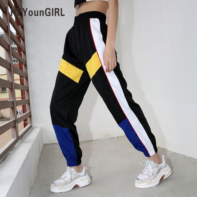 HEYounGIRL Patchwork Casual Women Joggers Summer Streetwear Sweatpants Black High Waist Cargo Capri Pants Fashion Loose Trousers