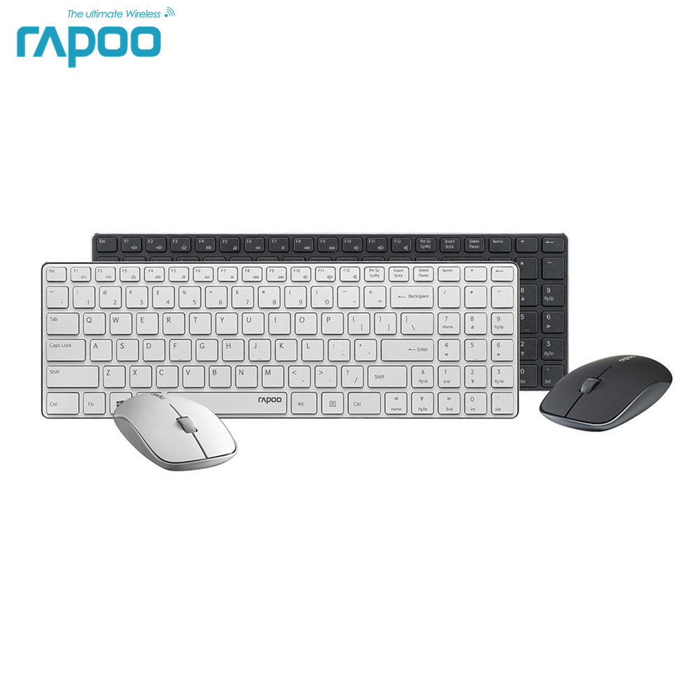 Brand Quality Rapoo 9300P Ultra Thin Metal 5G Wireless Optical USB Keyboard & Mouse Combos for PC Laptop Gaming-Black