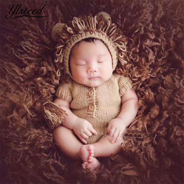 de5facbc6a8 Knitted Newborn Animal Clothes Baby Lion Hat + Romer Set Baby Boy Photo  Shooting Props Newborn