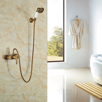 Whole Sale And Retail Ceramic W Hand Shower Shower Set Antique Brass Shower Faucet Single Handle