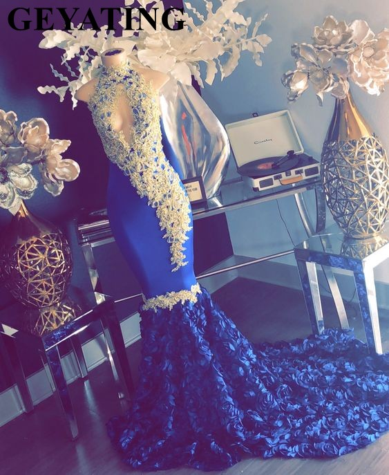Sexy Keyhole High Neck Mermaid Royal Blue   Prom     Dresses   Gold Lace Appliques Beaded 3D Flowers Long Train Plus Size Evening Gowns