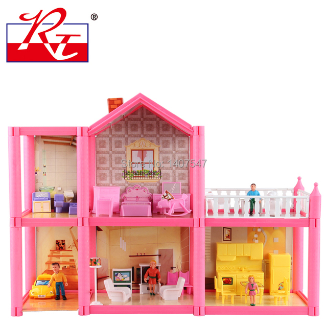 Buy New Large Size Diy Dollhouse Assemble Villa Plastic Miniatura Doll House