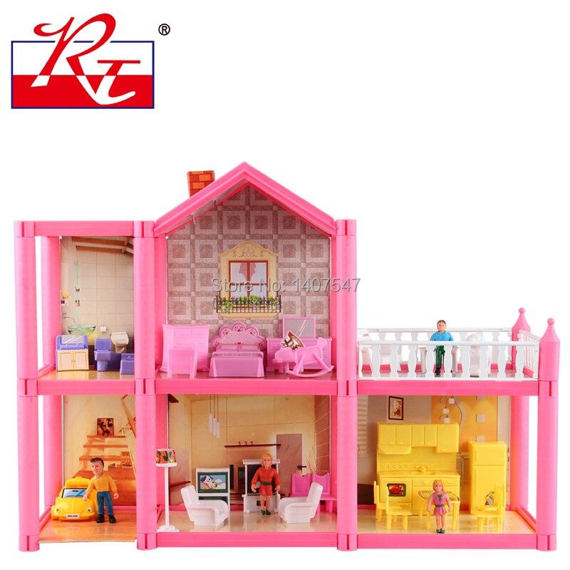 Nouvelle grande taille bricolage maison de poupée assembler villa en plastique Miniatura maison de poupée meubles 3D Miniature maison de poupée jouets Gits pour les filles