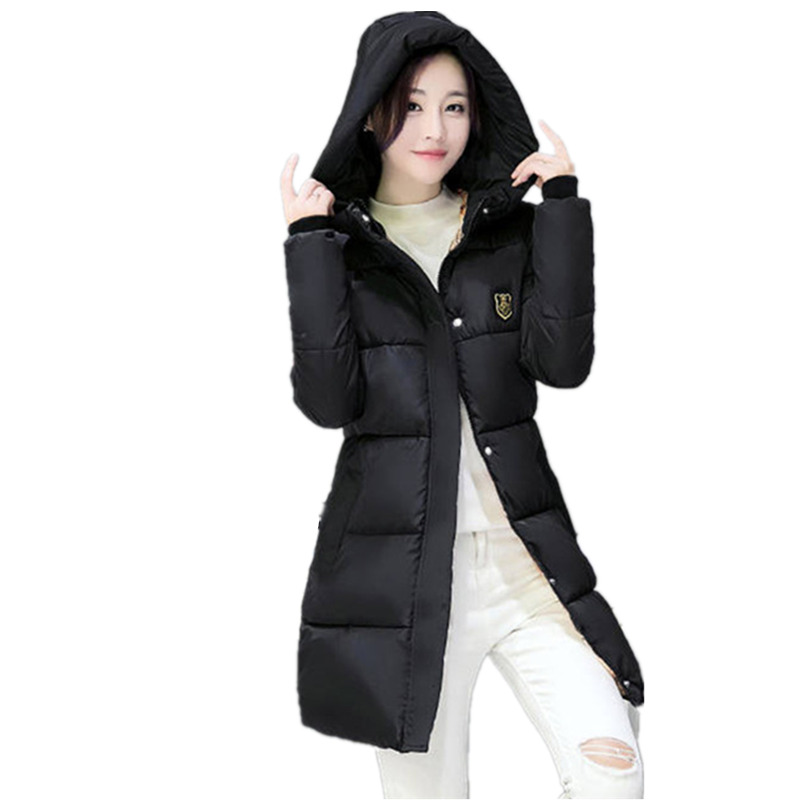 2016 Winter women hooded down Coat Girls Long paragraph Slim jacket coat female fashion student thick padded oversized BL126