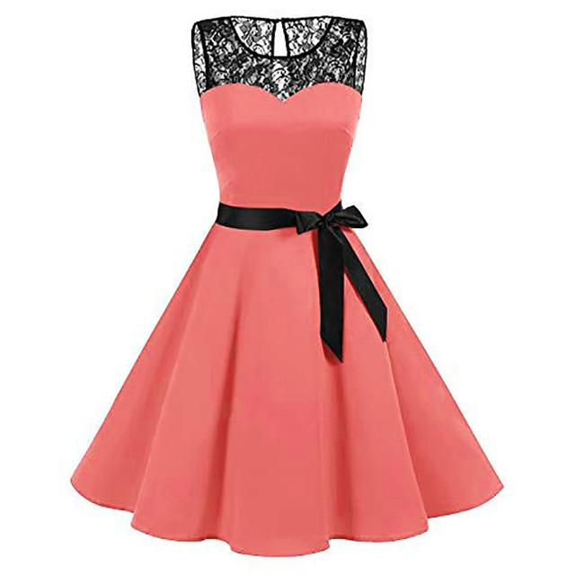 High-Waist Pleated Sleeveless Lace Dress