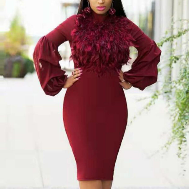 Women Pencil Dress Slim African Fashion Classy Patchwork Tulle Sleeves Plume Elegant Ladies Celebrate Party Robes Modest Female
