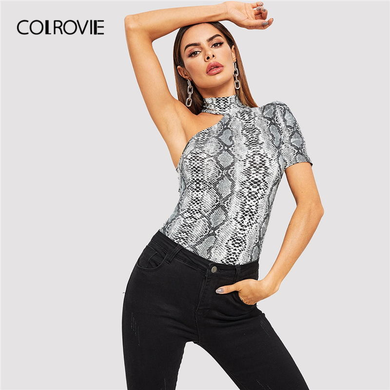 1f5795c5b1a Detail Feedback Questions about COLROVIE Halter One Shoulder Snake Skin  Print Fitted Party T Shirt Women 2019 Spring Korean Short Sleeve Casual Tees  Elegant ...