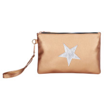 Summer Fashion Purse Solid Color Leather Star Pattern Zipper Clutch Bag Min Small Coin Pouch For Women Porte Monnaie Femme