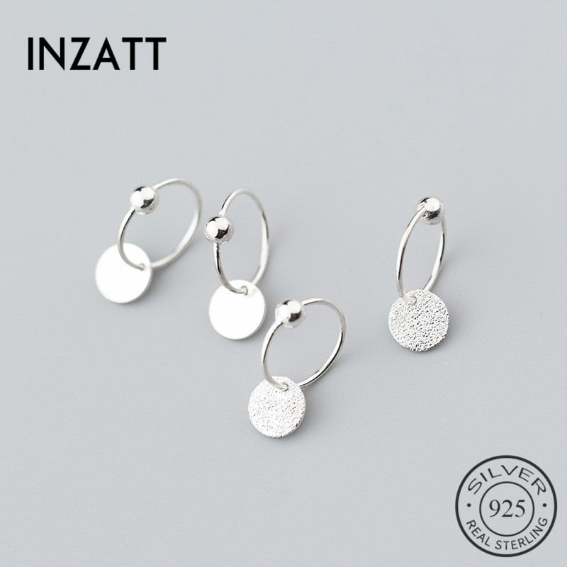 INZATT Real S925 Sterling Silver Minimalist Round Bead Classic Hoop Earrings For Fashion Women Party Fine Jewelry Accessories