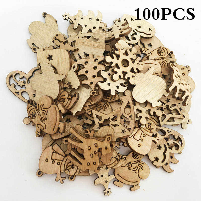100/50pcs Christmas Tree Decorations 10 Styles Wooden Hanging Christmas Pendant Drop Ornaments Xmas Navidad Decor 2018 New Year
