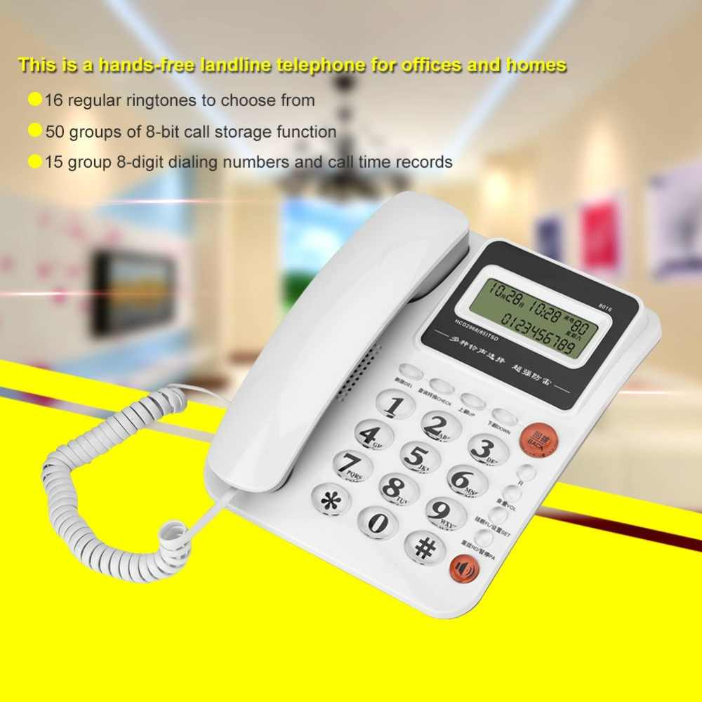 8016 Large Screen Hands-free Caller ID Display Landline Battery-free Home  Office Fixed Telephone