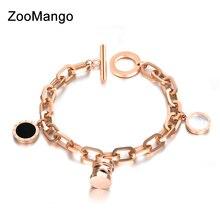 8cf03ea29170 ZooMango encantos de acero inoxidable pulsera de brazalete negro y blanco  de los números de cadena de enlace pulsera de la joyer.