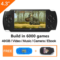 Free Shipping 4.3 inch handheld game console 40GB portable video game built in 6000+real reano repeat free classic games MP3/4