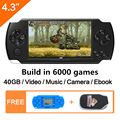 Free Shipping 4.3 inch handheld game console 40GB portable video game built-in 6000+real reano-repeat free classic games MP3/4