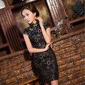 TIC-TEC 2017 новых прибытия cheongsam qipao женщины лето вышивка черное кружево Чино tradicional pulseira feminina P1871