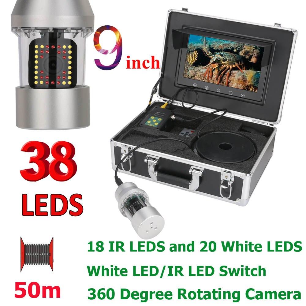 9 Inch 50m Underwater Fishing Video Camera Fish Finder IP68 Waterproof 38 LEDs 360 Degree Rotating