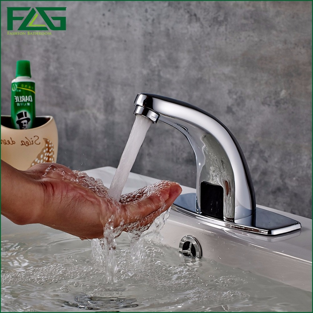 ФОТО FLG Water Saving Basin Faucet Chrome Faucet Ceramic Fully-automatic Wasserhahn Battery Power Inductive Bathroom Sink Faucet 8808