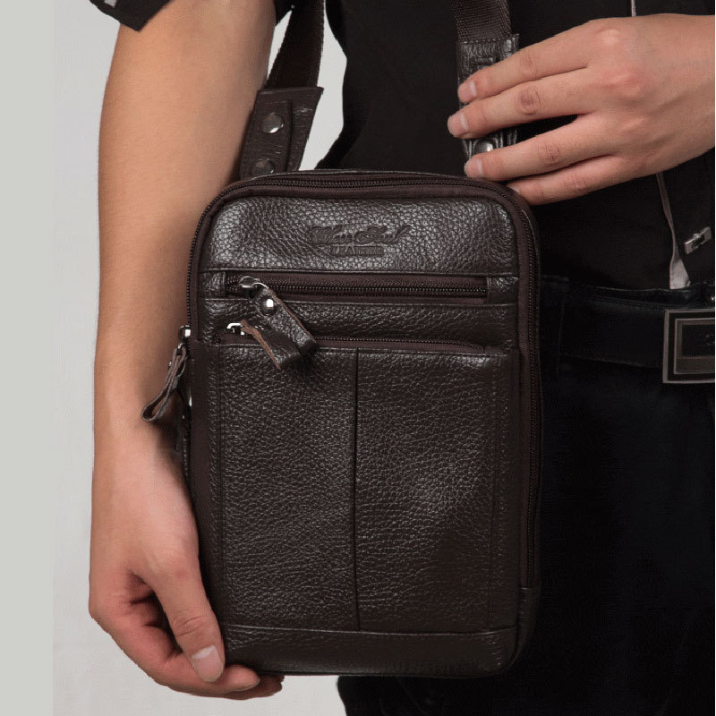 ФОТО Men messenger bag genuine leather cowhide brand designer fashion genuine leather sling shoulder casual bag Mini Tablet chest bag